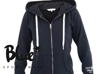 Blue Sportswear Feline Hood Jacket Blauw
